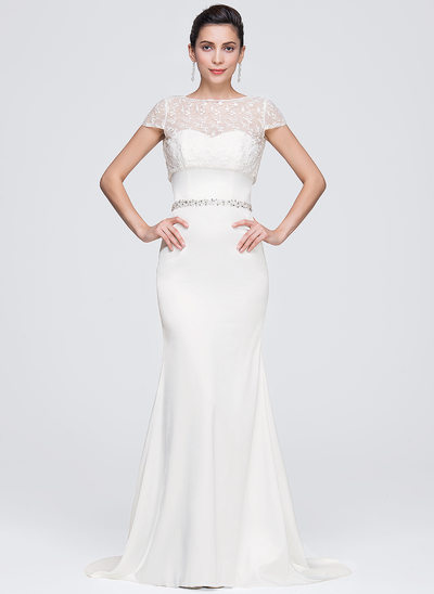 Trumpet/Mermaid Sweetheart Sweep Train Satin Evening Dress With Beading Sequins