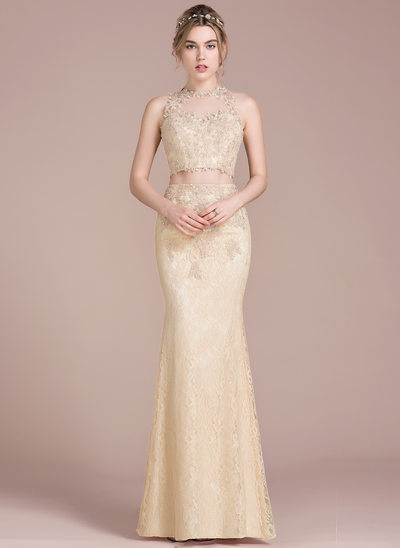 Trumpet/Mermaid Scoop Neck Floor-Length Lace Prom Dresses With Beading Sequins