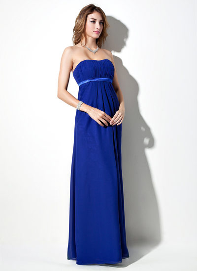ffacd2e158a Empire Sweetheart Floor-Length Chiffon Maternity Bridesmaid Dress With Sash