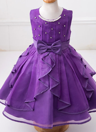 Ball Gown Knee-length Flower Girl Dress - Tulle/Polyester Sleeveless Scoop Neck With Sash/Beading/Bow(s)/Rhinestone