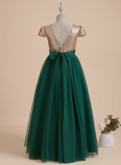 A-Line Floor-length Flower Girl Dress - Tulle/Sequined Short Sleeves V-neck With Bow(s)/V Back