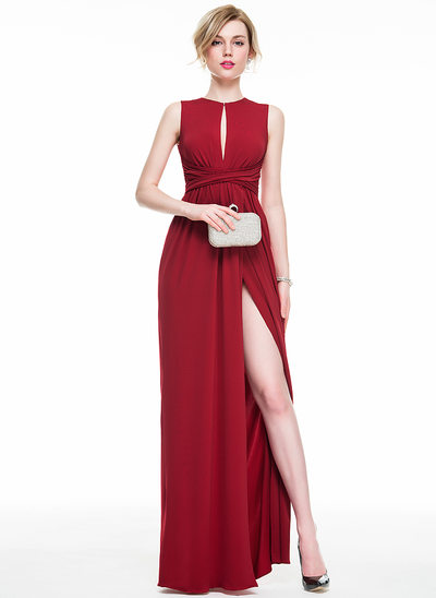 Sheath/Column Scoop Neck Floor-Length Jersey Prom Dresses With Ruffle Bow(s) Split Front