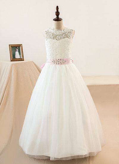 A-Line/Princess Scoop Neck Floor-Length Tulle Junior Bridesmaid Dress With Sash Beading Bow(s)