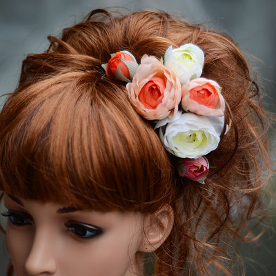 Beautiful Artificial Silk Hairpins/Flowers & Feathers(Set of 3)