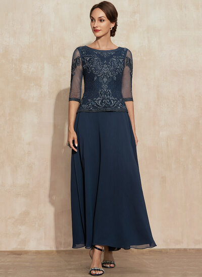 A-Line Scoop Neck Ankle-Length Lace Chiffon Mother of the Bride Dress