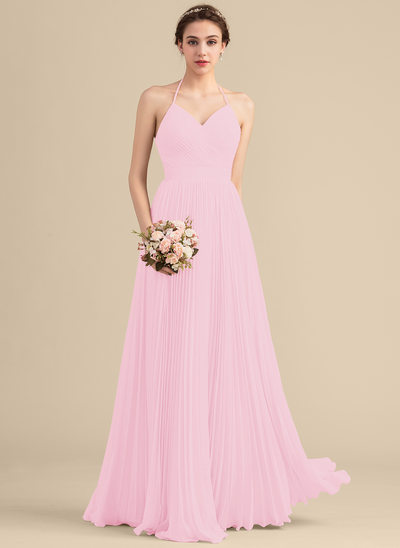 A-Line/Princess Sweetheart Floor-Length Chiffon Bridesmaid Dress With Pleated
