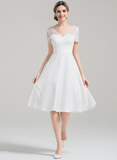 A-Line/Princess V-neck Knee-Length Satin Lace Wedding Dress With Sequins