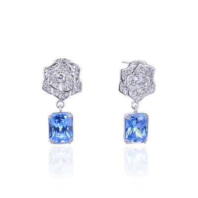 Ladies' Beautiful 925 Sterling Silver With Cubic Crystal/Cubic Zirconia Earrings For Mother/For Friends