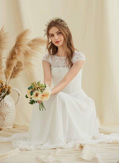 A-Line Floor-Length Chiffon Lace Wedding Dress