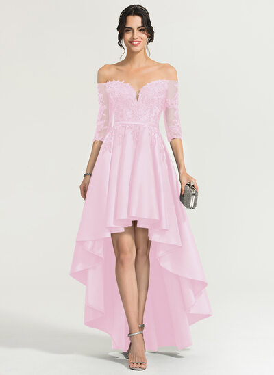A-Line/Princess Off-the-Shoulder Asymmetrical Satin Evening Dress With Sequins