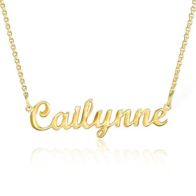 Custom 18k Gold Plated Silver Name Necklace - Valentines Gifts