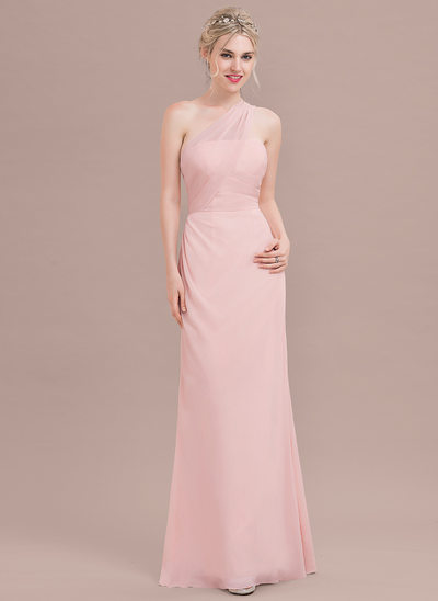 A-Line/Princess One-Shoulder Floor-Length Chiffon Prom Dresses With Ruffle