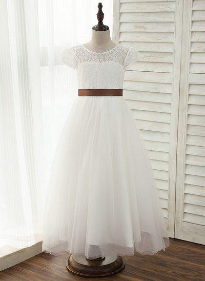 A-Line/Princess Ankle-length Flower Girl Dress - Tulle/Charmeuse/Lace Sleeveless Scoop Neck With Sash (Detachable sash)