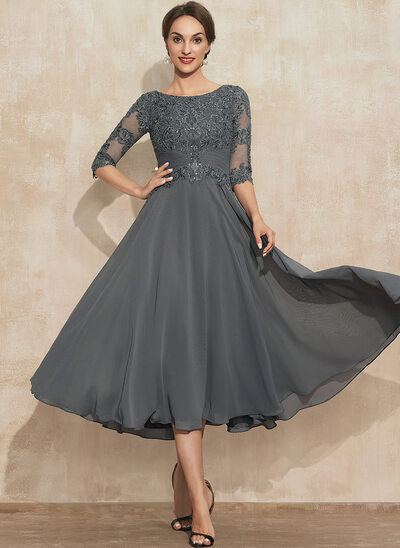 A-Line Scoop Neck Tea-Length Lace Chiffon Mother of the Bride Dress With Sequins