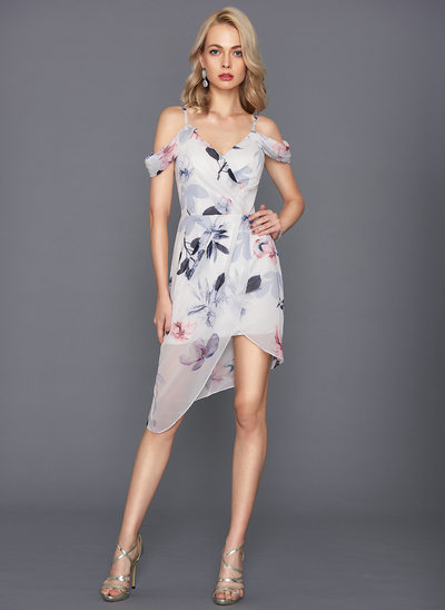 Sheath/Column V-neck Asymmetrical Chiffon Cocktail Dress