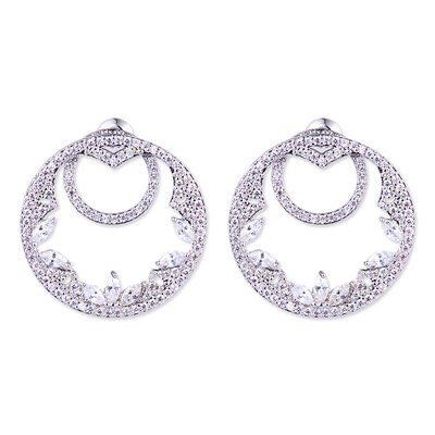 Ladies' Unique Copper/Platinum Plated With Marquise Cubic Zirconia Earrings For Friends/For Couple