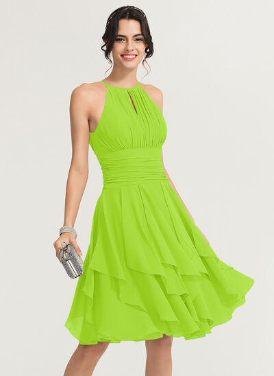 A-Line/Princess Scoop Neck Knee-Length Chiffon Cocktail Dress With Ruffle Cascading Ruffles