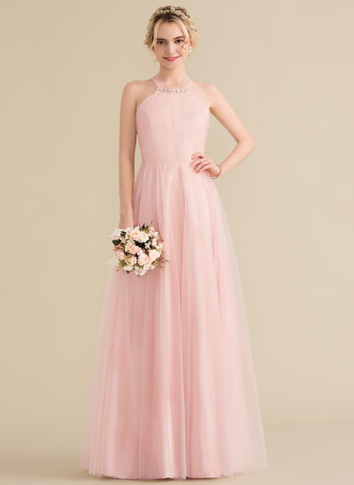 A-Line/Princess Scoop Neck Floor-Length Tulle Bridesmaid Dress With Ruffle Beading