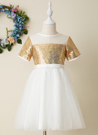 A-Line Knee-length Flower Girl Dress - Tulle/Sequined Short Sleeves Scoop Neck With Sequins