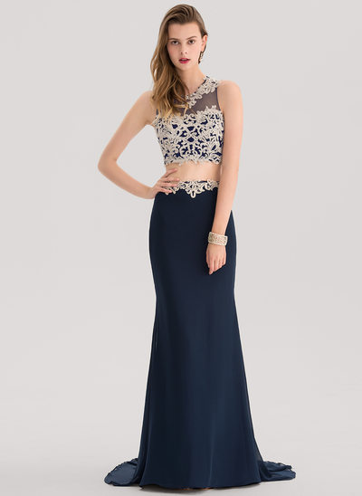 Trumpet/Mermaid Scoop Neck Court Train Chiffon Prom Dress With Lace