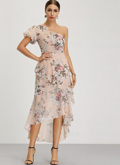A-Line One-Shoulder Asymmetrical Polyester Cocktail Dress