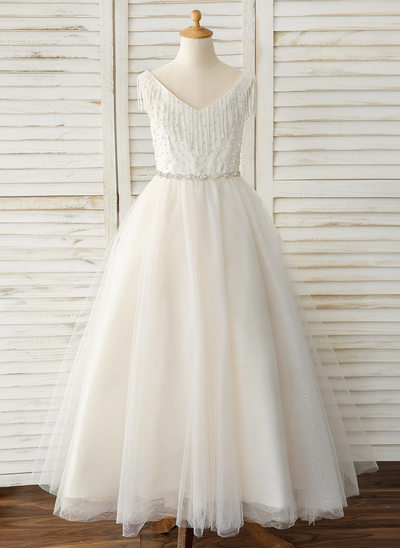 Ball-Gown/Princess Floor-length Flower Girl Dress - Tulle Sleeveless V-neck With Rhinestone