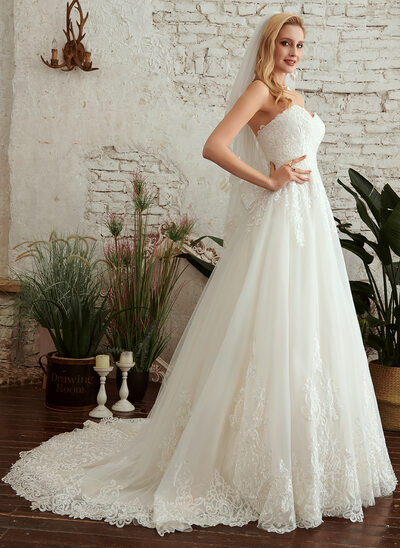 A-Line Sweetheart Court Train Wedding Dress With Lace