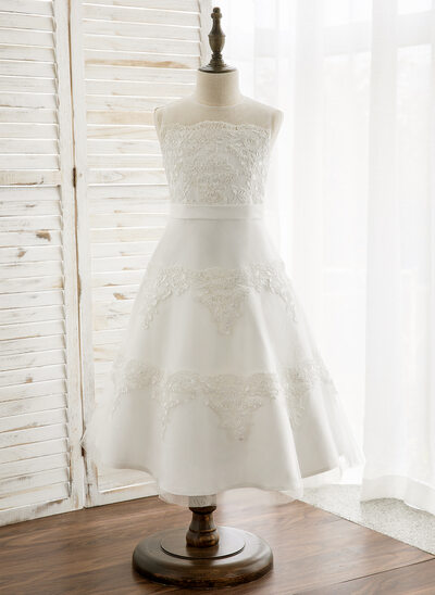 A-Line/Princess Tea-length Flower Girl Dress - Satin/Tulle/Lace Sleeveless Scoop Neck