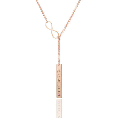 Christmas Gifts For Her - Custom 18k Rose Gold Plated Infinity Bar Letter Name Necklace Birthstone Necklace With Birthstone