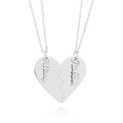 Custom Silver Overlapping Broken Heart Name Necklace Heart Necklace - Birthday Gifts Mother's Day Gifts