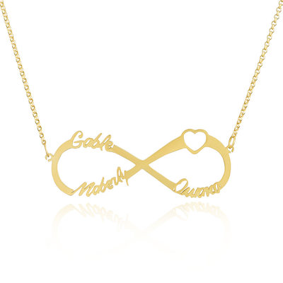 Custom 18k Gold Plated Silver Infinity Three Name Necklace Infinity Name Necklace With Heart