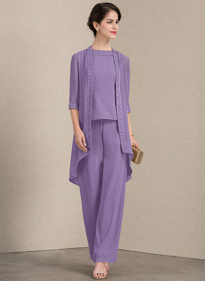 A-Line/Princess Scoop Neck Floor-Length Chiffon Mother of the Bride Two-piece outfit With Lace