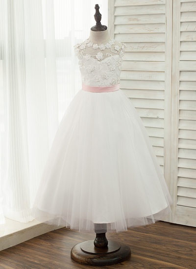 A-Line/Princess Tea-length Flower Girl Dress - Satin/Tulle/Lace Sleeveless Scoop Neck With Sash (Undetachable sash)