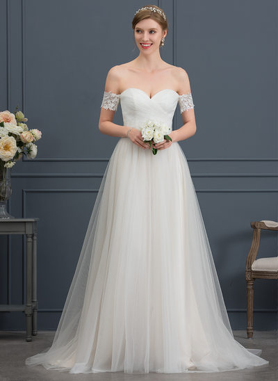 A-Line/Princess Sweetheart Sweep Train Tulle Wedding Dress With Bow(s)