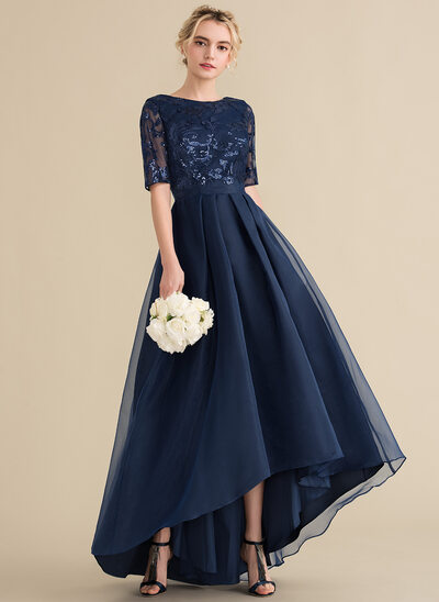 A-Line Scoop Neck Asymmetrical Organza Sequined Bridesmaid Dress