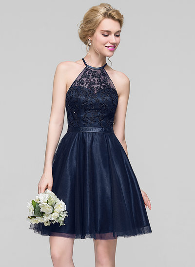 A-Line/Princess Scoop Neck Knee-Length Tulle Bridesmaid Dress With Beading Sequins