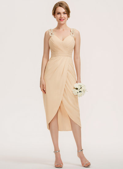 Sheath/Column Sweetheart Asymmetrical Chiffon Bridesmaid Dress With Ruffle Beading Sequins