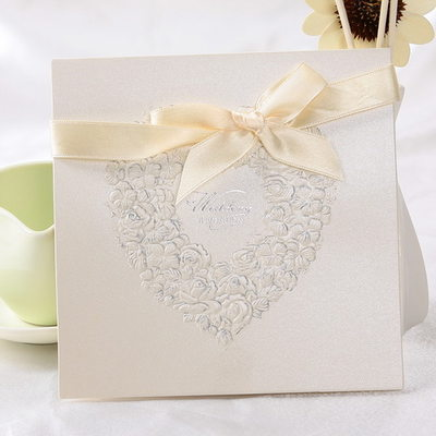 Heart Style Top Fold Invitation Cards With Ribbons (Set of 10)