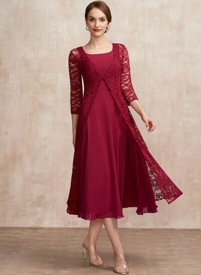 A-Line Scoop Neck Tea-Length Chiffon Mother of the Bride Dress