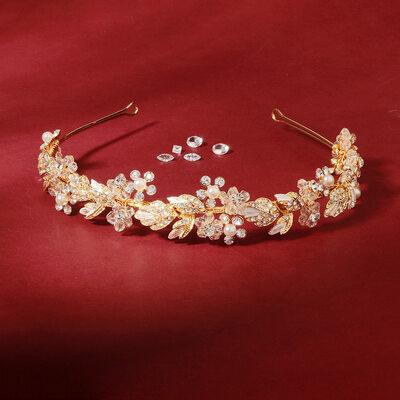Damer Elegant Kristall/Strass/Legering/Fauxen Pärla Tiaror med Strass (Säljs i ett enda stycke)