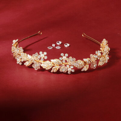Ladies Elegant Crystal/Rhinestone/Alloy/Imitation Pearls Tiaras With Rhinestone (Sold in single piece)