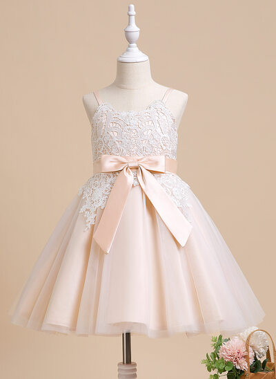 A-Line Knee-length Flower Girl Dress - Sleeveless Scalloped Neck With Bow(s)