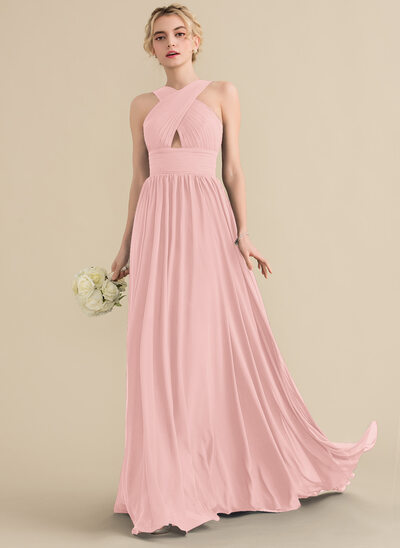 A-Line/Princess V-neck Sweep Train Chiffon Evening Dress With Ruffle