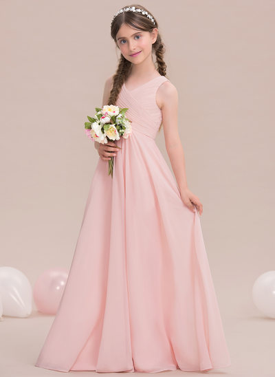 A-Line Princess V-neck Floor-Length Chiffon Junior Bridesmaid Dress With 02fed9cf43aa
