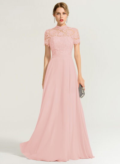 A-Line High Neck Floor-Length Chiffon Prom Dresses