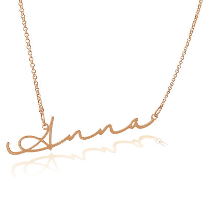 Custom 18k Rose Gold Plated Silver Signature Name Necklace - Valentines Gifts