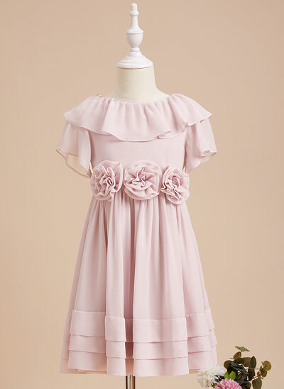 A-Line Knee-length Flower Girl Dress - Chiffon Short Sleeves Scoop Neck With Ruffles/Flower(s)/V Back