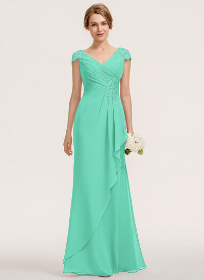 A-Line V-neck Floor-Length Chiffon Lace Bridesmaid Dress With Cascading Ruffles