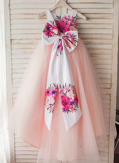 A-Line Asymmetrical Flower Girl Dress - Satin/Tulle Sleeveless Scoop Neck With Flower(s)/Bow(s)/V Back