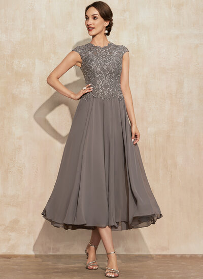 A-Line Scoop Neck Tea-Length Lace Chiffon Mother of the Bride Dress With Beading